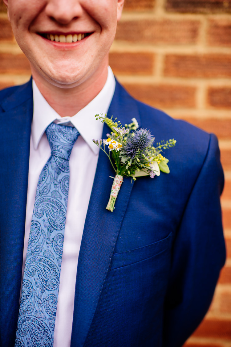 Thistle Daisy Buttonhole Groom Quirky Vintage Fun Loving Hall Wedding http://www.karolinasimankowicz.com/
