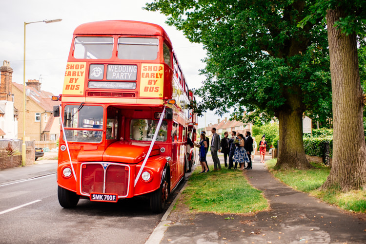 Red Bus Transport Quirky Vintage Fun Loving Hall Wedding http://www.karolinasimankowicz.com/