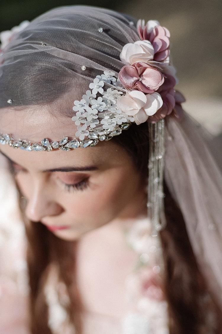 Juliet Cap Veil Bride Bridal Flowers Accessory Style Vintage Cherry Blossom Soft Spring Wedding Ideas http://www.photographybybea.co.uk/