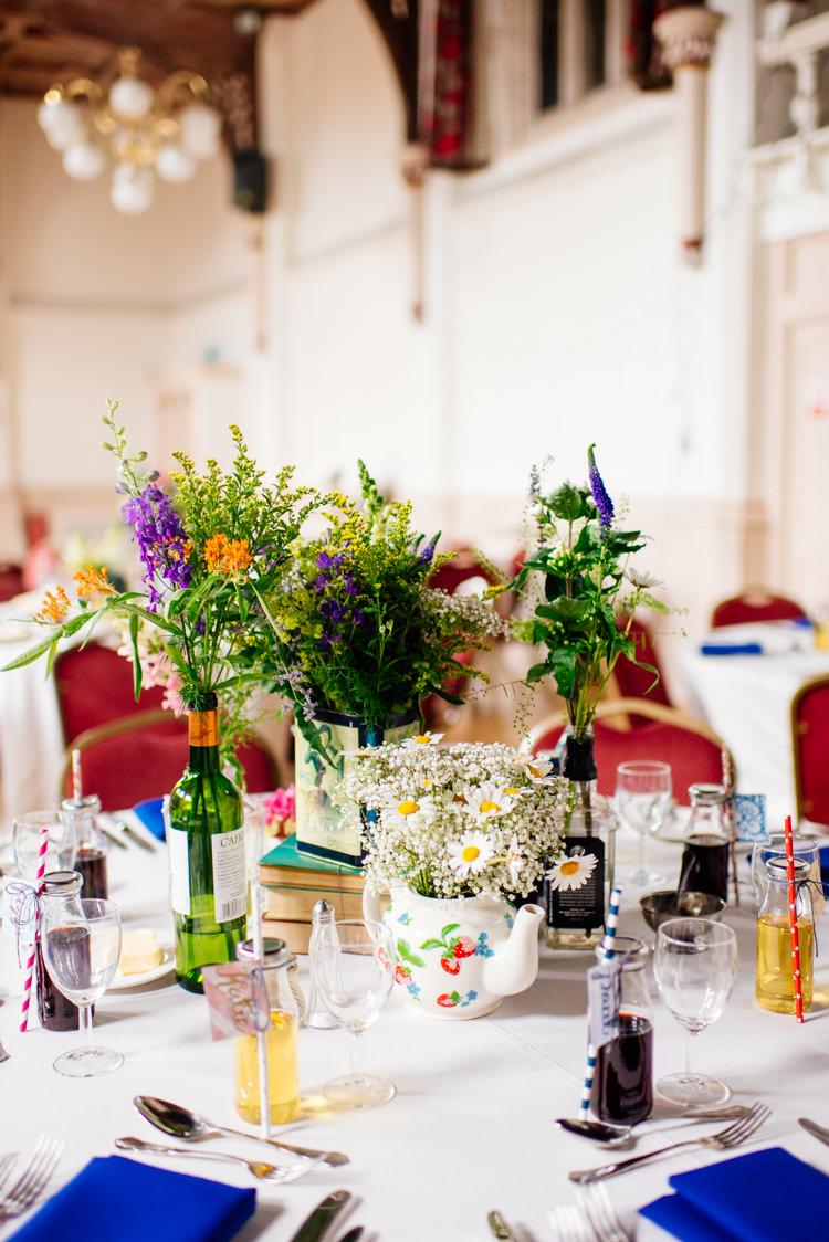 Tea Pot Tin Flowers Books Centrepiece Decor Quirky Vintage Fun Loving Hall Wedding http://www.karolinasimankowicz.com/