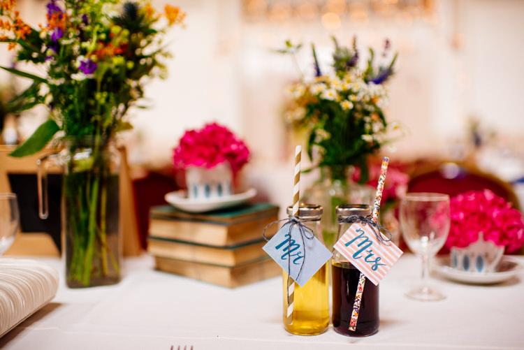 Milk Bottle Drink Favours Quirky Vintage Fun Loving Hall Wedding http://www.karolinasimankowicz.com/