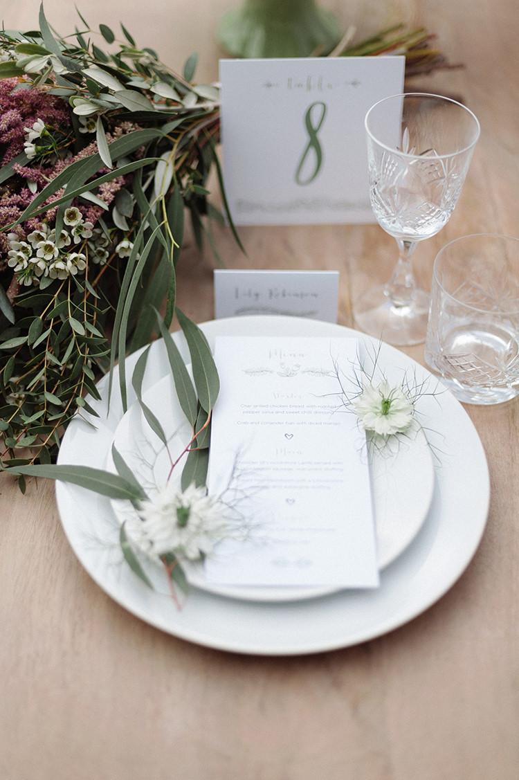 Place Setting Greenery Decor Cherry Blossom Soft Spring Wedding Ideas http://www.photographybybea.co.uk/