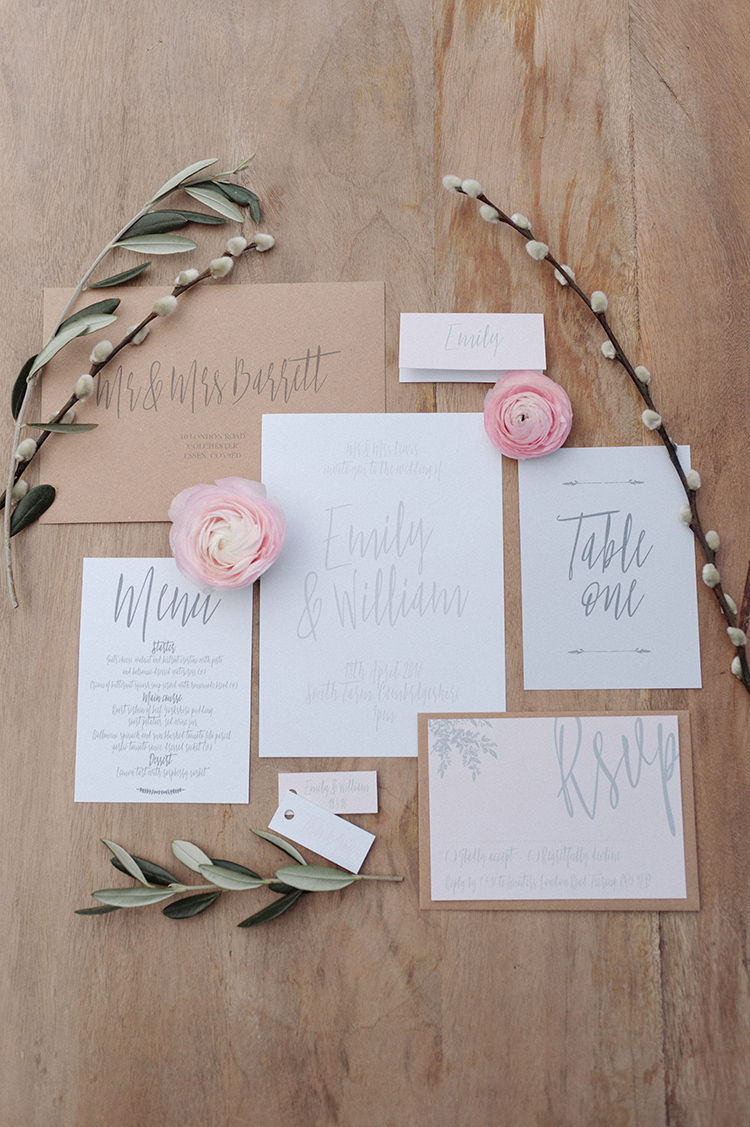 Calligraphy Stationery Invtiations Whimsical Word Lettering Grey Cherry Blossom Soft Spring Wedding Ideas http://www.photographybybea.co.uk/