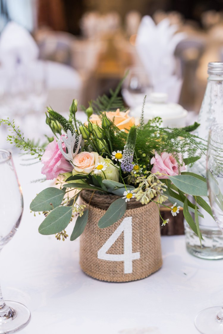 Table Number Centre Rose Eucalyptus Daisy Fern Hessian Jar Pretty Quirky Pastel Wedding http://www.happilyevercaptured.com/
