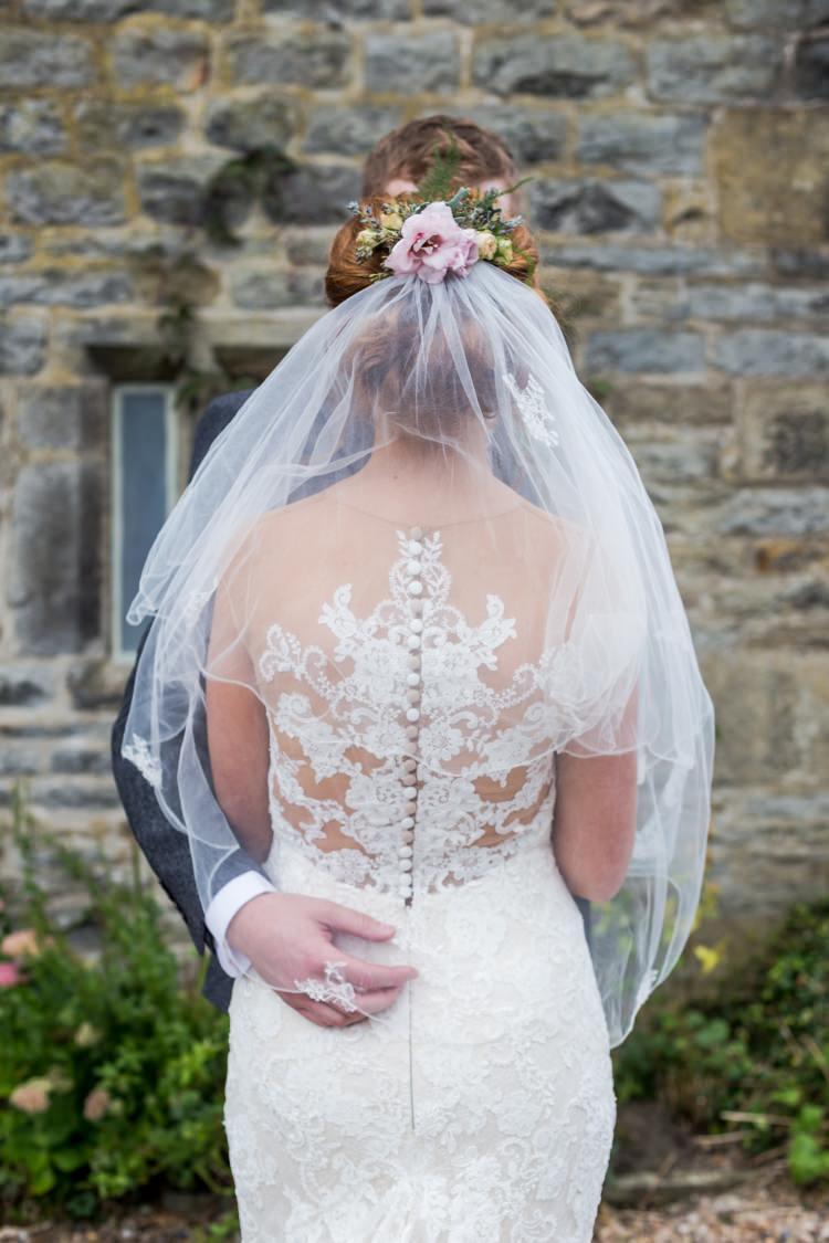 Bride Bridal Pronovias Dress Gown Lace Illusion Back Detail Veil Floral Hairpiece Pretty Quirky Pastel Wedding http://www.happilyevercaptured.com/