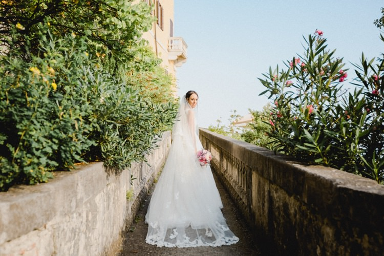 Lace Veil Dress Bride Romantic Vibrant Pink Wedding Trieste http://www.emotionttl.com/en/home/