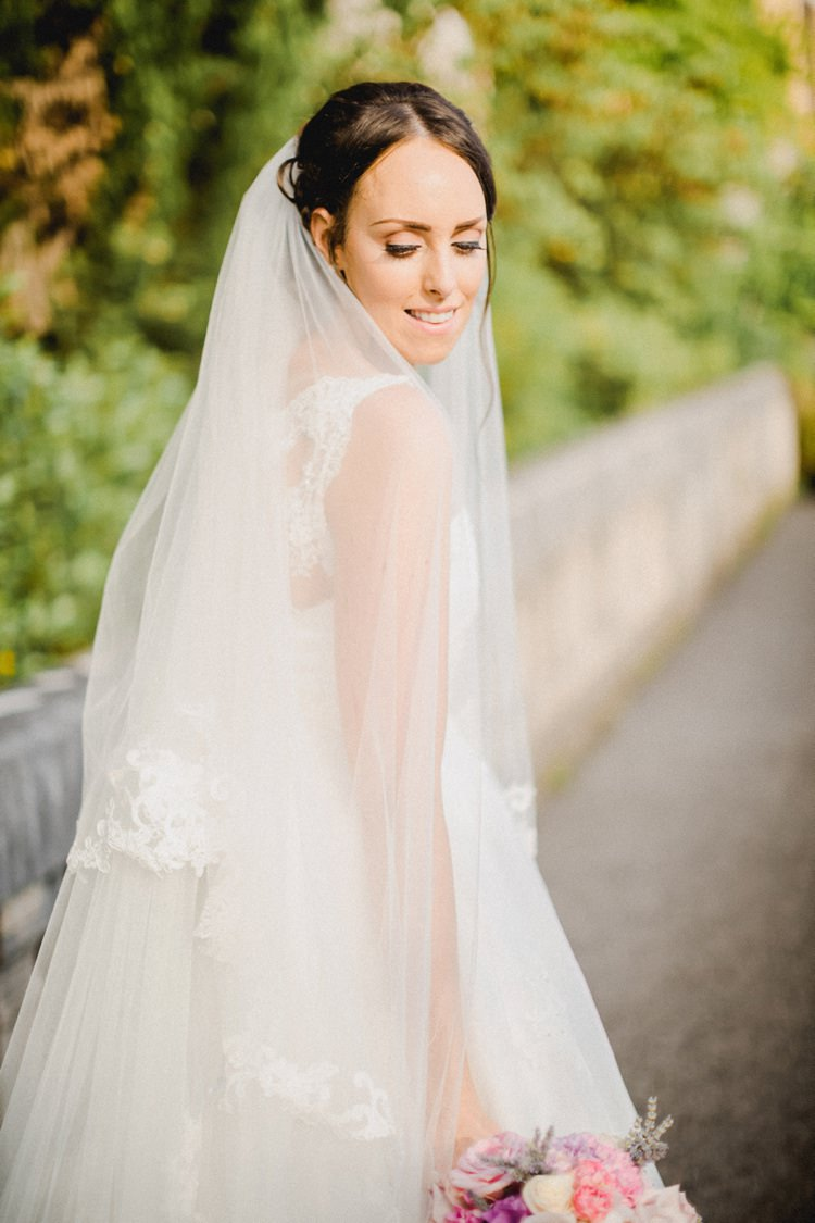 Bride Veil Lace Glance Look Romantic Vibrant Pink Wedding Trieste http://www.emotionttl.com/en/home/