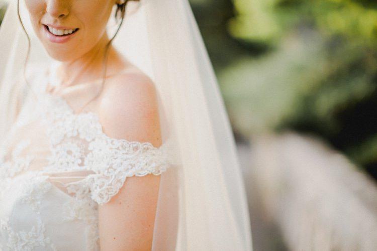Bride Dress Off-Shoulder Straps Lace Veil Romantic Vibrant Pink Wedding Trieste http://www.emotionttl.com/en/home/
