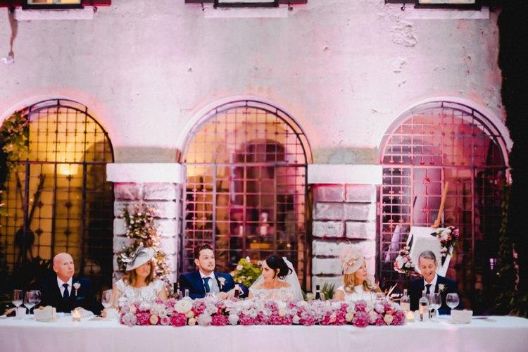 Wedding Breakfast Meal Top Table Romantic Vibrant Pink Wedding Trieste http://www.emotionttl.com/en/home/