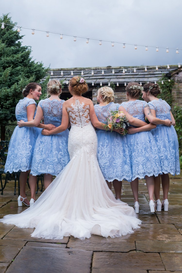 Bride Bridal Gown Dress Back Detail Fishtail Pronovias Bridesmaids Chi Chi London Blue Tea Length Lace Pretty Quirky Pastel Wedding http://www.happilyevercaptured.com/