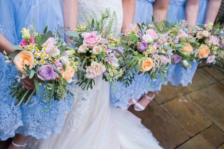 Bride Bridal Gown Dress Back Detail Fishtail Pronovias Bridesmaids Chi Chi London Blue Tea Length Lace Purple Orange Rose Fern Eucalyptus Bouquet Pretty Quirky Pastel Wedding http://www.happilyevercaptured.com/