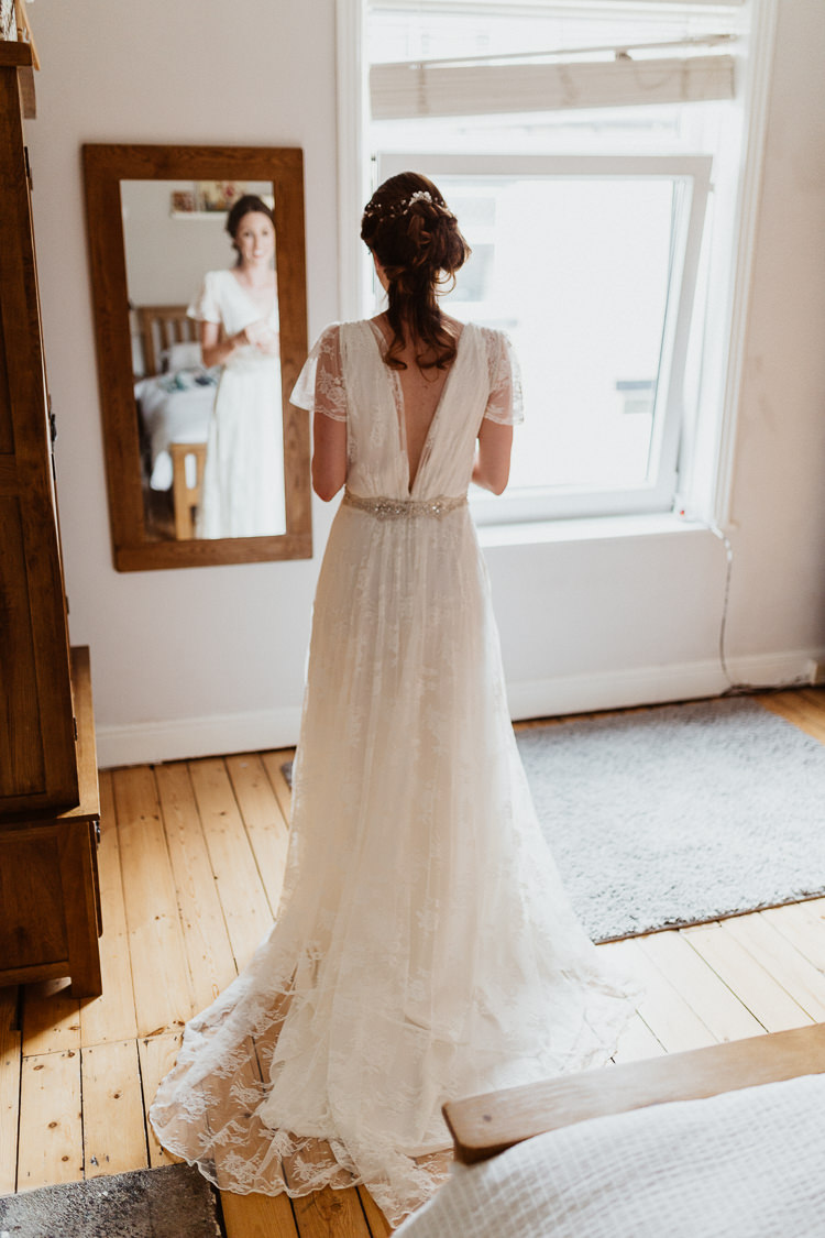 Charlie Brear Lace Over Dress Lay Sash Low Back Bride Bridal Beautifully Relaxed Outdoorsy Barn Wedding http://www.caitlinandjones.co.uk/