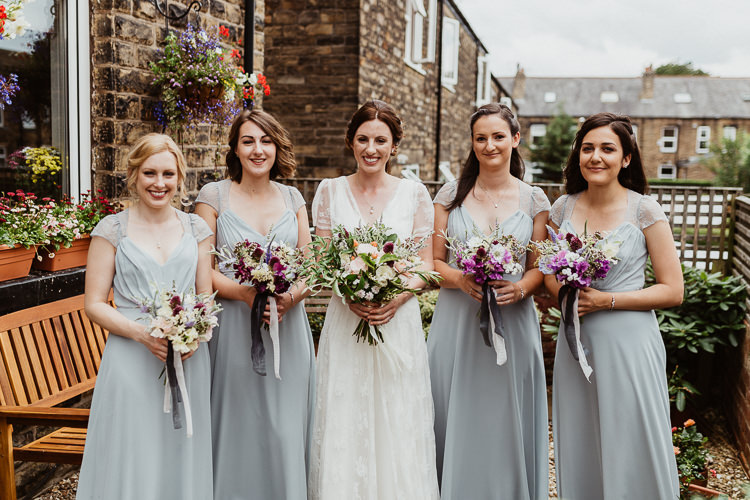 Long Grey Bridesmaid Dresses Beautifully Relaxed Outdoorsy Barn Wedding http://www.caitlinandjones.co.uk/