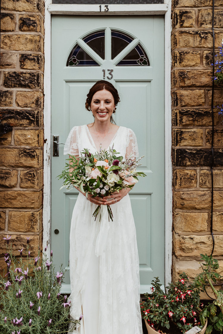 Charlie Brear Lace Dress Gown Bride Bridal Sleeves Beautifully Relaxed Outdoorsy Barn Wedding http://www.caitlinandjones.co.uk/