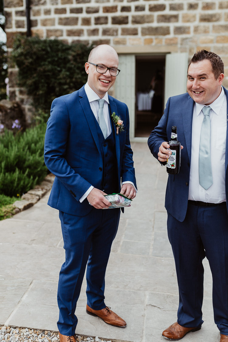 Blue Suit Groom Tan Shoes Beautifully Relaxed Outdoorsy Barn Wedding http://www.caitlinandjones.co.uk/