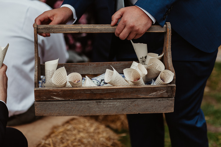 Confetti Cone Crate Paper Book Beautifully Relaxed Outdoorsy Barn Wedding http://www.caitlinandjones.co.uk/