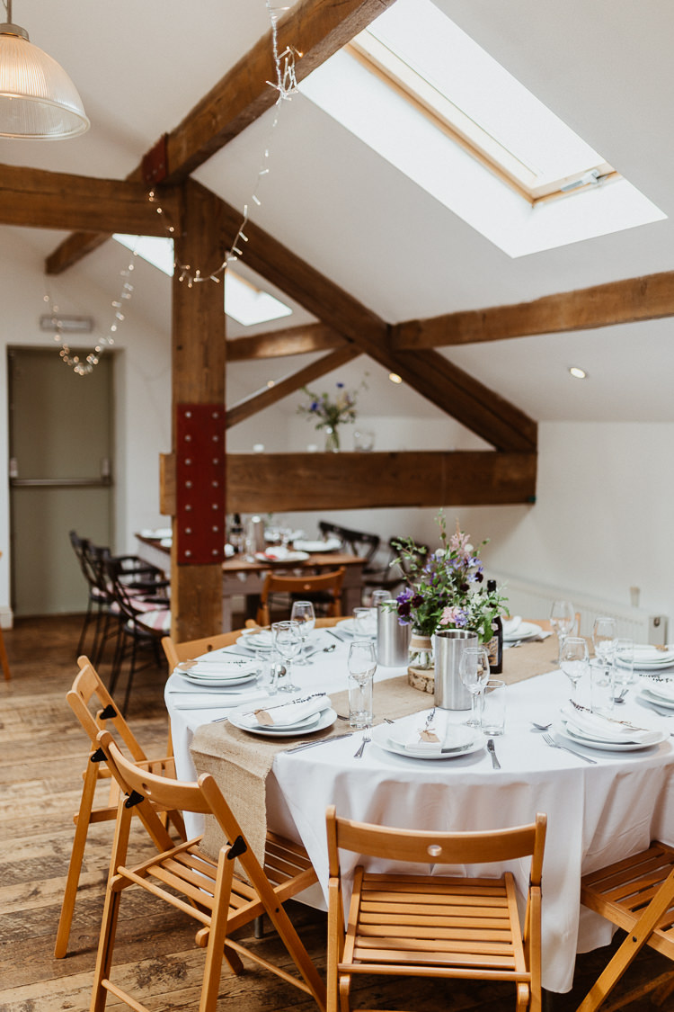 Round Tables Folding Chairs Decor Venue Reception Beautifully Relaxed Outdoorsy Barn Wedding http://www.caitlinandjones.co.uk/