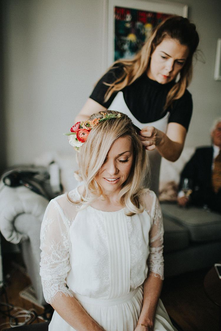 Flower Crown Headband Bride Bridal Hair Casual City Stylish Pub Wedding http://www.ireneyapweddings.com/