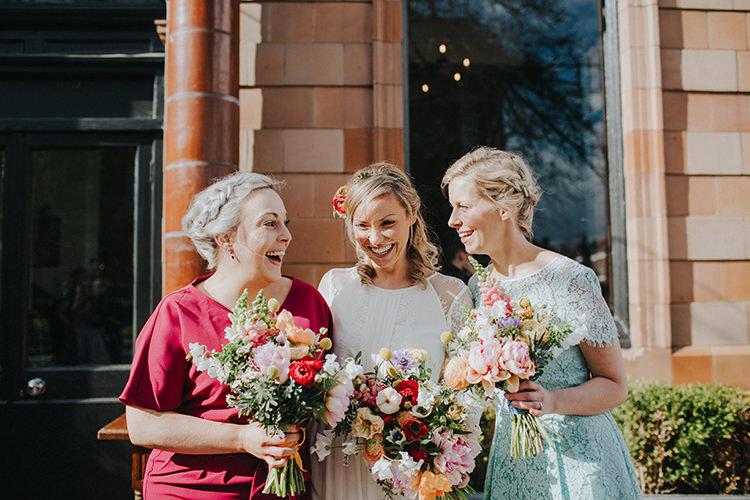 Mismatched Bridesmaid Dresses Casual City Stylish Pub Wedding http://www.ireneyapweddings.com/