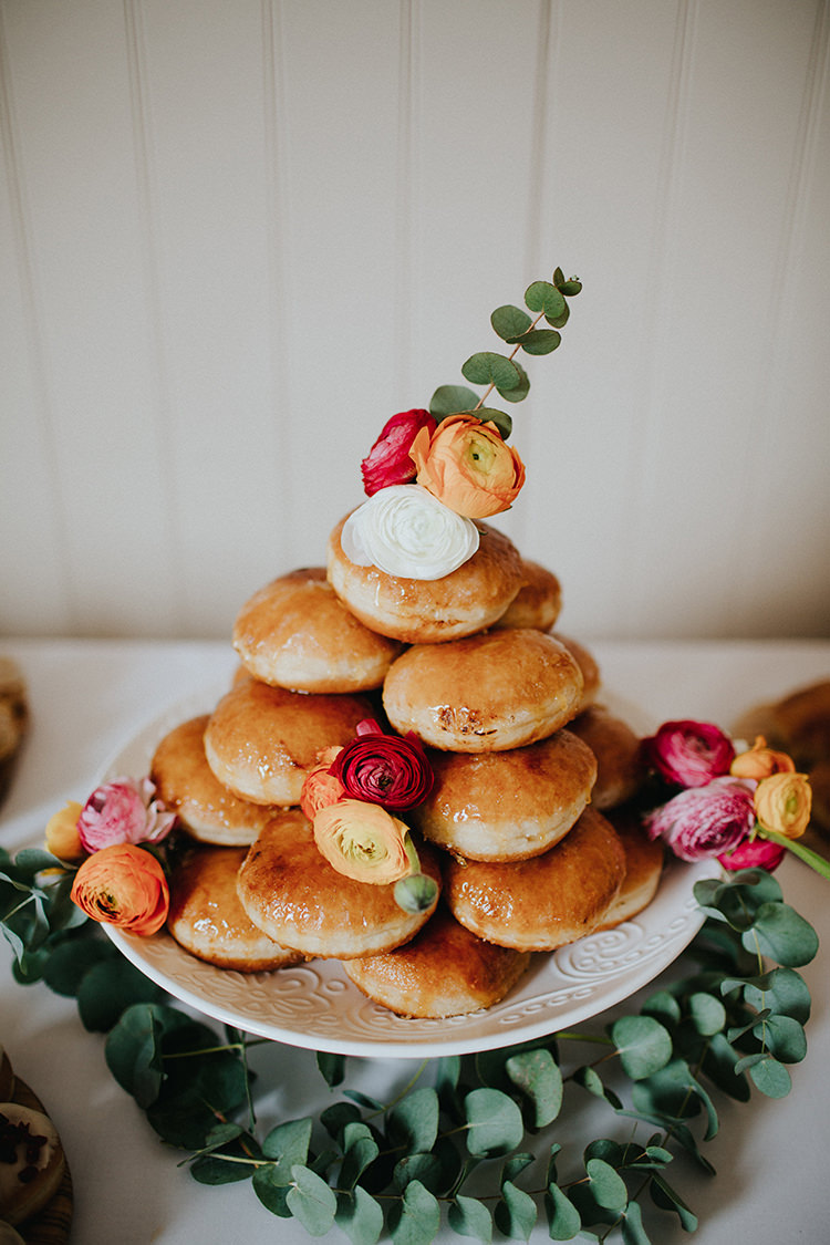 Donut Doughnut Cake Tower FLowers Casual City Stylish Pub Wedding http://www.ireneyapweddings.com/