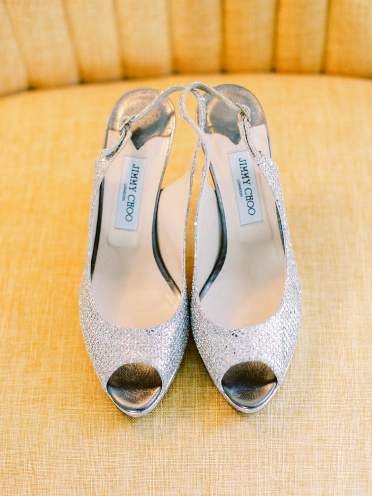 Jimmy Choo Shoes Bride Bridal Silver Slingback Peep Toe Whimsical Luxury Summer Garden Party Wedding https://www.wookiephotography.com/