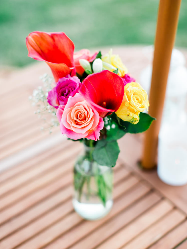 Bright Colourful Bottle Flowers Decor Whimsical Luxury Summer Garden Party Wedding https://www.wookiephotography.com/