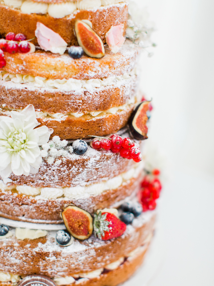 Naked Cake Sponge Fruit Berries Flowers Icing Whimsical Luxury Summer Garden Party Wedding https://www.wookiephotography.com/