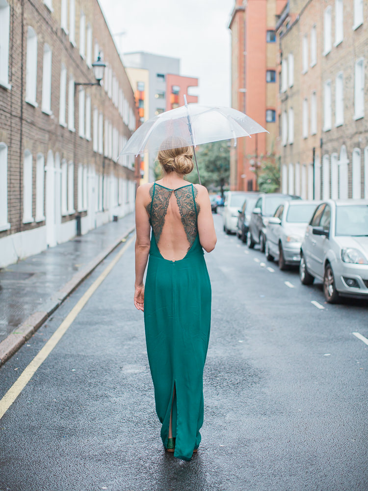 Backless Green Dress Emerald Bride Bridal Intimate Elegant Two Day City Wedding http://siobhanhphotography.com/