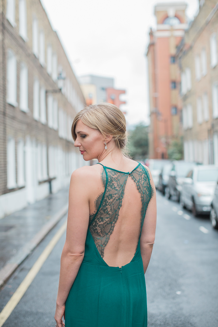 Backless Green Dress Lace Bride Bridal Emerald Intimate Elegant Two Day City Wedding http://siobhanhphotography.com/