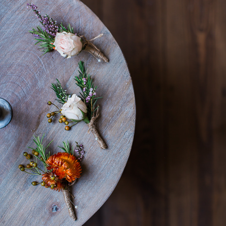 Rose Rosemary Buttonholes Groom Intimate Elegant Two Day City Wedding http://siobhanhphotography.com/