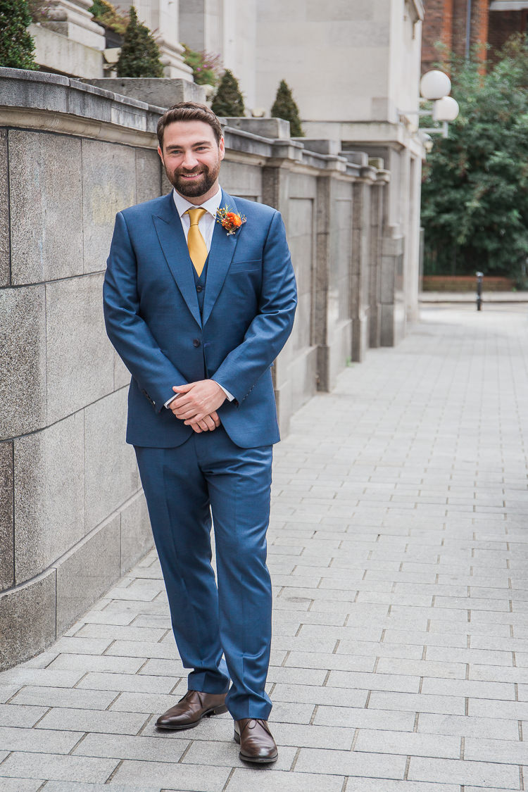 Blue Suit Groom Yellow Tie Tan Shoes Intimate Elegant Two Day City Wedding http://siobhanhphotography.com/