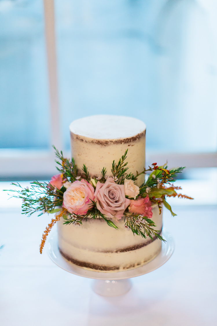 Buttercream Cake Bare Semi Naked Flowers Intimate Elegant Two Day City Wedding http://siobhanhphotography.com/