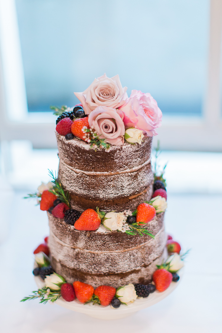 Naked Cake Sponge Layer Berries Fruit Icing Intimate Elegant Two Day City Wedding http://siobhanhphotography.com/