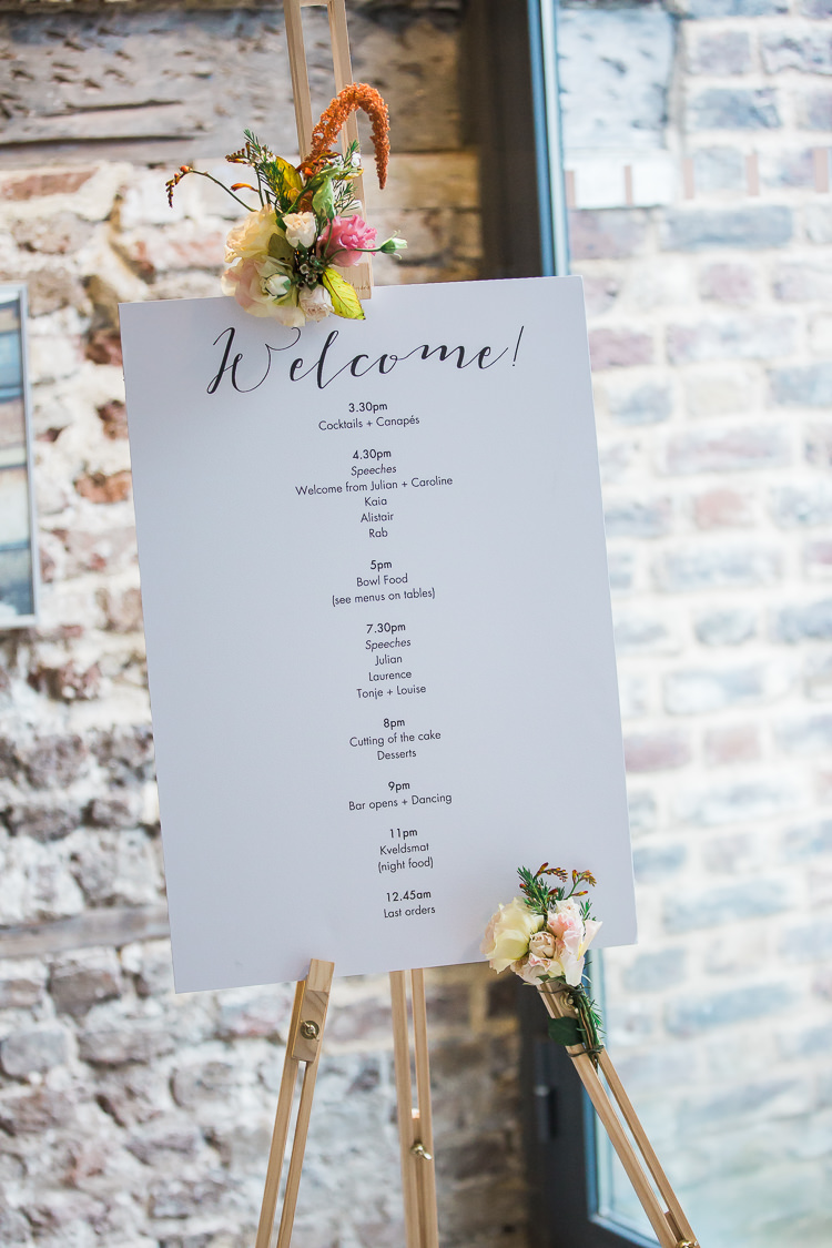 Welcome Sign Flowers Easel Intimate Elegant Two Day City Wedding http://siobhanhphotography.com/