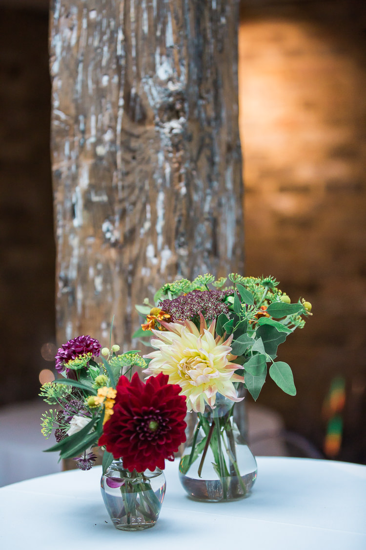 Jar Flowers Vase Dahlias Intimate Elegant Two Day City Wedding http://siobhanhphotography.com/