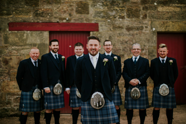 Kilt Groom Groomsmen Magical Blush Pink Gold Barn Wedding http://www.johnjohnstonphotography.co.uk/