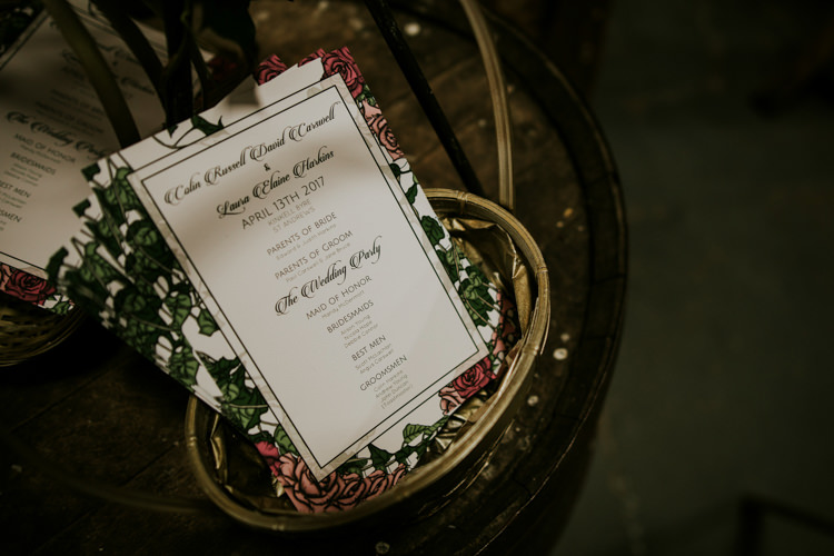 Floral Stationery Order Service Magical Blush Pink Gold Barn Wedding http://www.johnjohnstonphotography.co.uk/