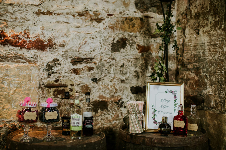 Bar Drinks Pimp Prosecco Magical Blush Pink Gold Barn Wedding http://www.johnjohnstonphotography.co.uk/