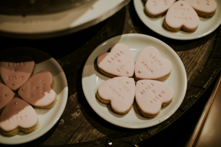 Personalised Heart Biscuits Magical Blush Pink Gold Barn Wedding http://www.johnjohnstonphotography.co.uk/