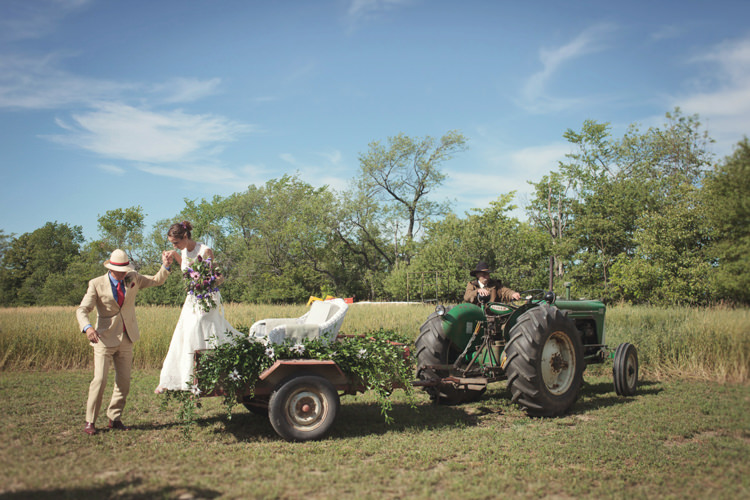 Tractor Transport Casual Country Farm Wedding Ontario https://tiedphotography.com/