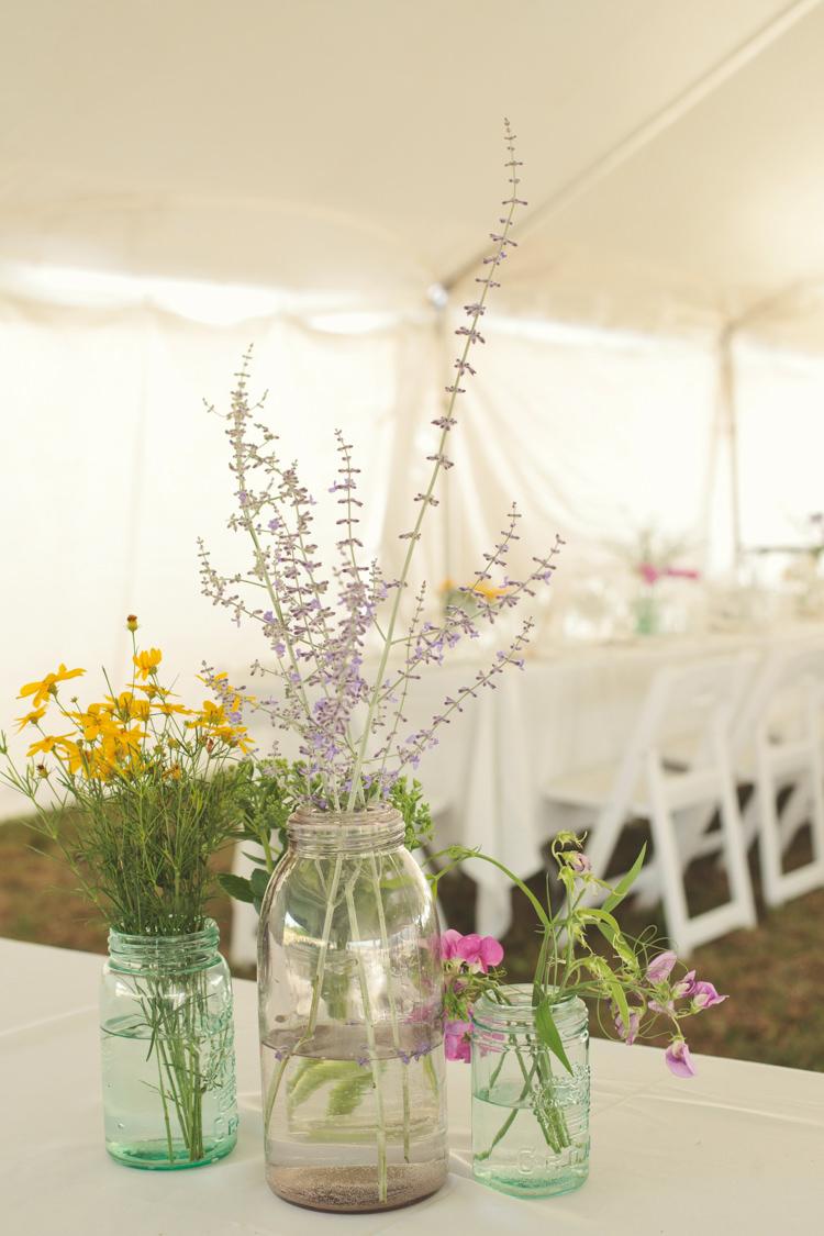 Wildflowers Jars Decor Casual Country Farm Wedding Ontario https://tiedphotography.com/