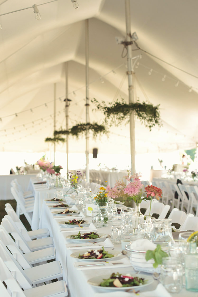 Marquee Festoon Lights Long Tables Flowers Casual Country Farm Wedding Ontario https://tiedphotography.com/
