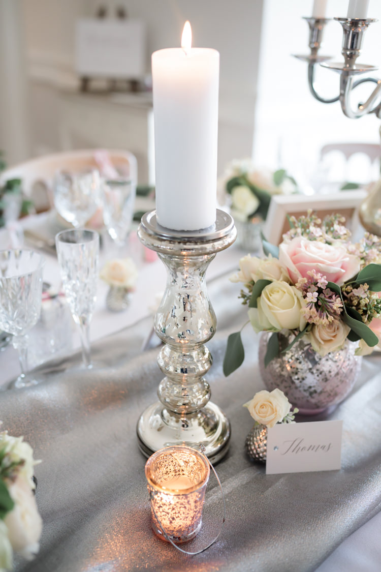 Candle Silver Lighting Decor Centrepiece Pretty Soft Country Garden Pastel Wedding Ideas https://www.ellielouphotography.co.uk/