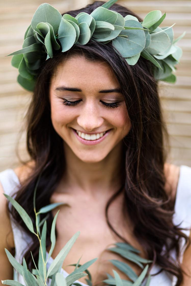 Greenery Flower Crown Headdress Bride Bridal Foliage Pretty Soft Country Garden Pastel Wedding Ideas https://www.ellielouphotography.co.uk/