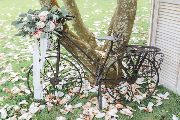 Bicycle Decor Eucalyptus Rose Ranunculus Bouquet Ribbon Flowers Bride Bridal Pretty Soft Country Garden Pastel Wedding Ideas https://www.ellielouphotography.co.uk/
