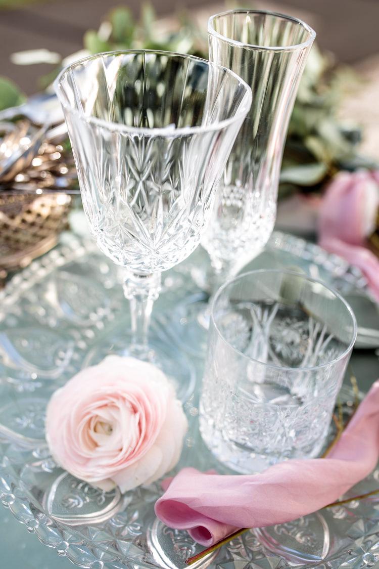 Glasswear Glasses Decor Tray Pretty Soft Country Garden Pastel Wedding Ideas https://www.ellielouphotography.co.uk/