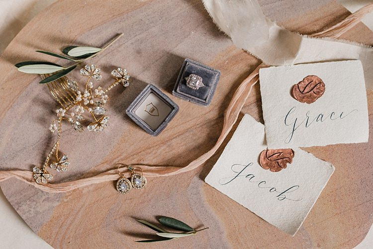 Calligraphy Place Name Ring Box Jewellery Bridal Flat Lay Modern Botanical Copper Geometric Wedding Ideas http://hannahmcclunephotography.com/