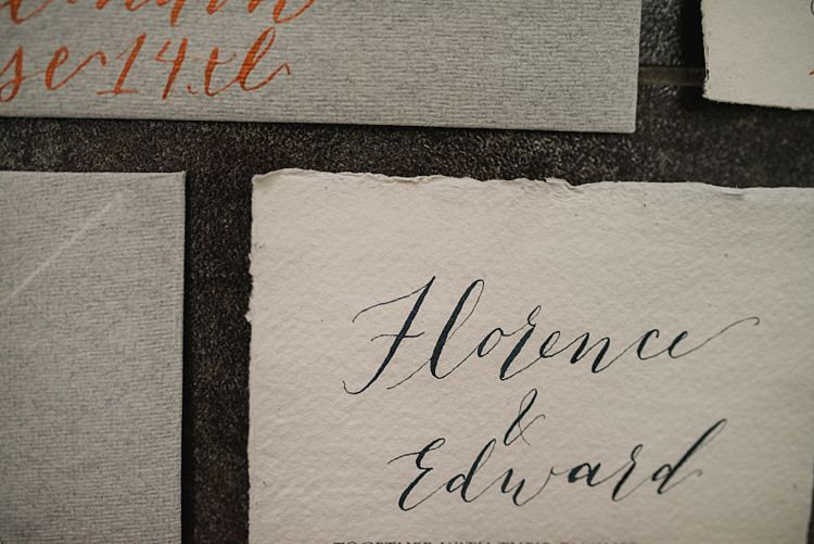 Calligraphy Stationery Invitations Suite Modern Botanical Copper Geometric Wedding Ideas http://hannahmcclunephotography.com/