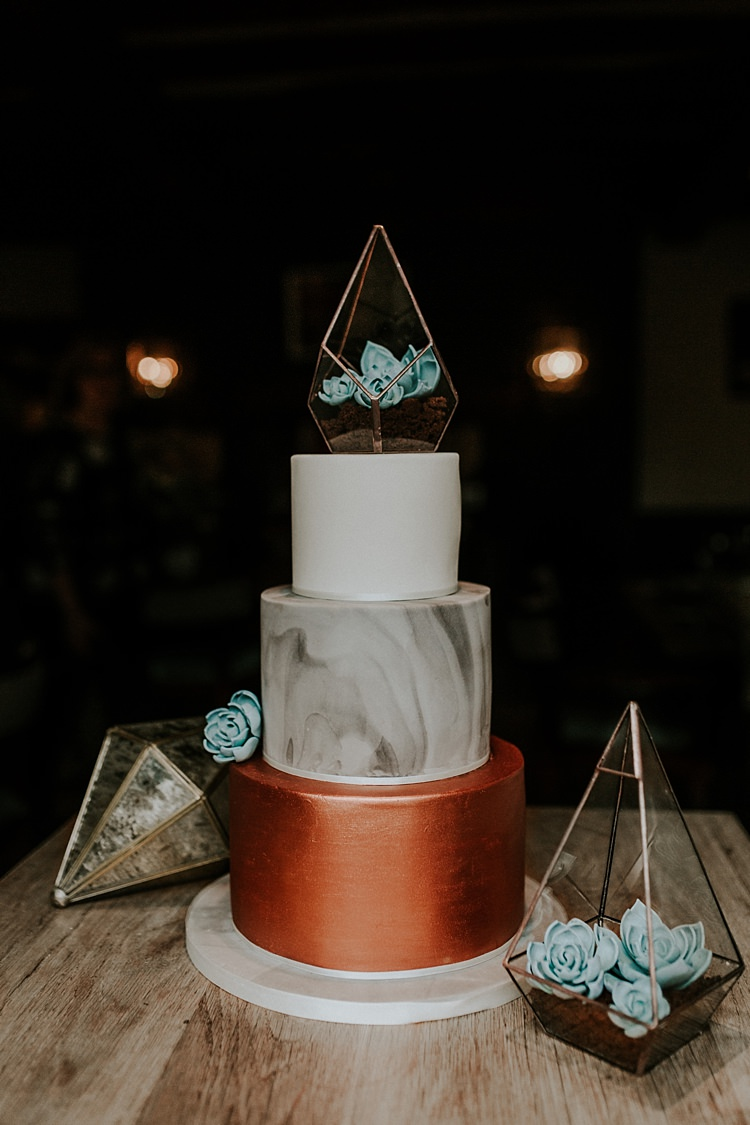 Marble Cake Terrariums Modern Botanical Copper Geometric Wedding Ideas http://lolarosephotography.com/