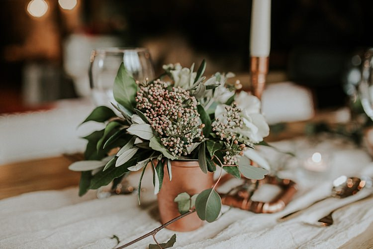 Flowers Jar Greenery Modern Botanical Copper Geometric Wedding Ideas http://lolarosephotography.com/